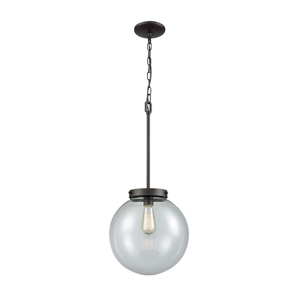 Beckett 1 Light Pendant In Oil Rubbed Bronze With Clear Glass CN129041