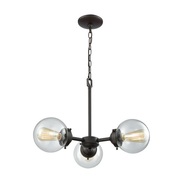 Beckett 3 Light Chandelier - Oil Rubbed Bronze W/ Clear Glass CN129321