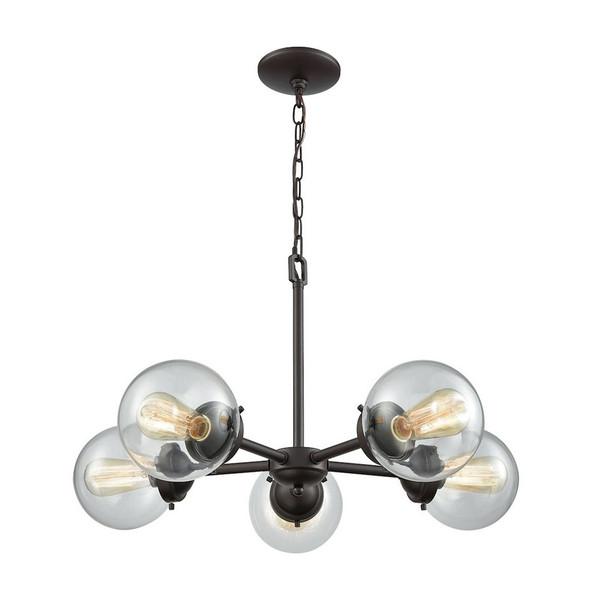Beckett 5 Light Chandelier - Oil Rubbed Bronze W/ Clear Glass CN129521
