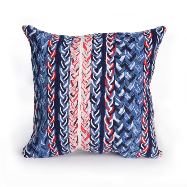 """Visions Iii Braided Stripe Indoor/Outdoor Pillow Navy 20"""" Square"""