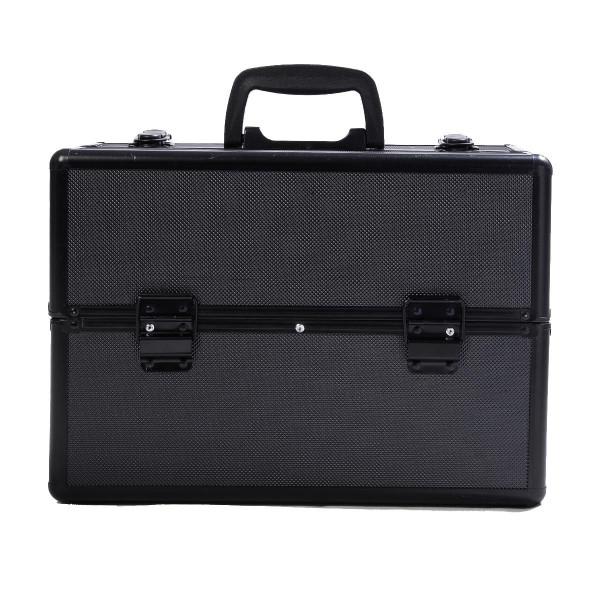 "14"" X 9"" X 10"" Aluminum Makeup Case Cosmetic Organizer-Black BG48221BK"
