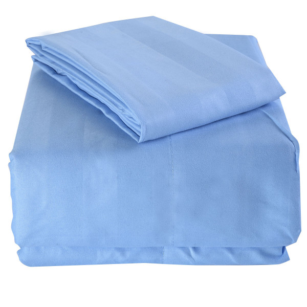1800 Count 3 Piece Bed Sheet Set Deep Pocket 5 Color Available Twin Size New-Light Blue HT0704