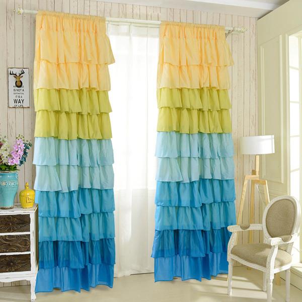 "1 Pc Ruffle 54""X84"" Sheer Curtain Panels Drapes Valances Rod Pocket Polyester-Blue HT0768"