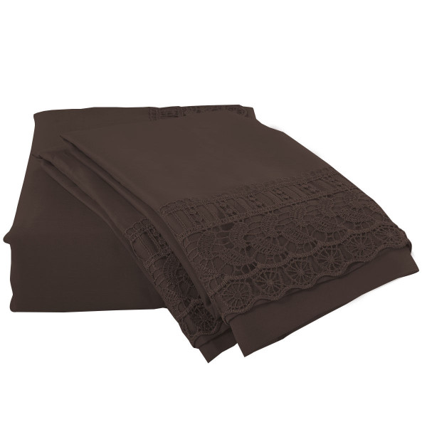Twin Size 4 Pieces Bed Sheet Set-Chocolate HT0804