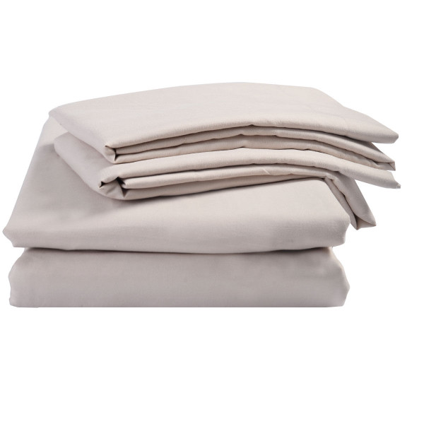 3 Piece Duvet Cover And Shams Set King Queen Full Twin-Beige-Twin Size HT0841