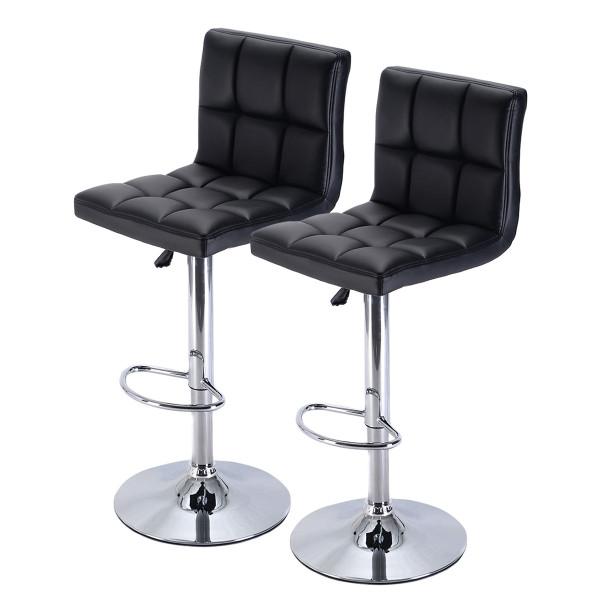 Set Of 2 Black Bar Stools Counter Chairs HW51712-2BK