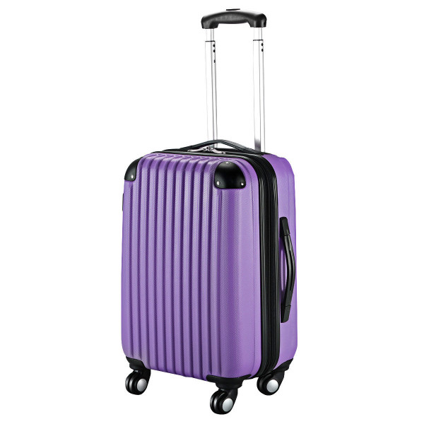 "Globalway 20"" Abs Carry On Luggage Travel Bag Trolley Suitcase 8 Color-Purple BG49830PU"