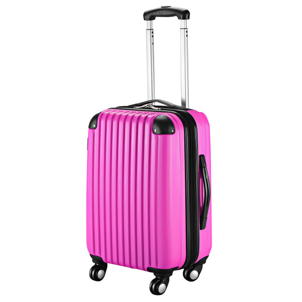 """Globalway 20"""" Abs Carry On Luggage Travel Bag Trolley Suitcase 8 Color-Heart Pink BG49830PI"""