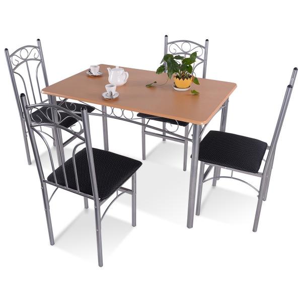 5 Pcs Wood And Metal Dining Set HW52158