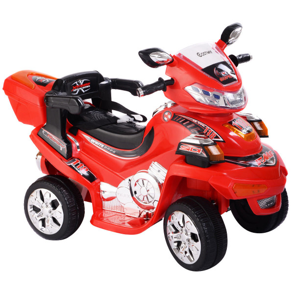 4 Wheel Kids Ride On Motorcycle 6V Battery Powered R/C Electric Toy Power Bicyle-Red TY217209RE