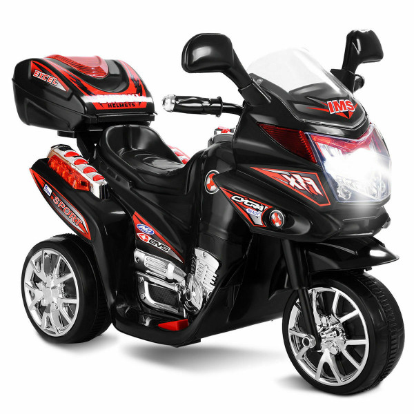 20-Day Presell 3 Wheel Kids Ride On Motorcycle 6V Battery Powered Electric Toy Power Bicyle New-Black TY327423BK