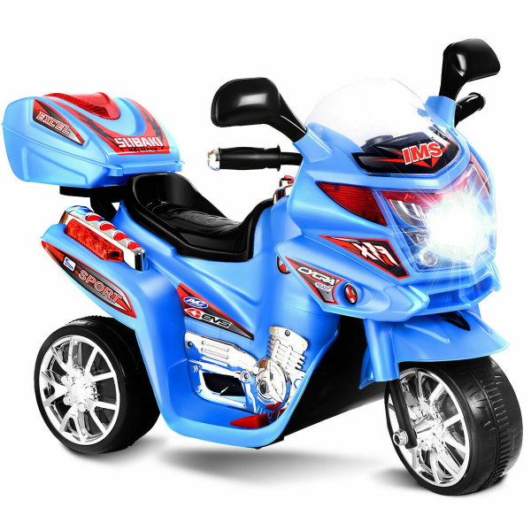 20-Day Presell 3 Wheel Kids Ride On Motorcycle 6V Battery Powered Electric Toy Power Bicyle New-Blue TY327423BL