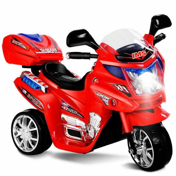 20-Day Presell 3 Wheel Kids Ride On Motorcycle 6V Battery Powered Electric Toy Power Bicyle New-Red TY327423RE