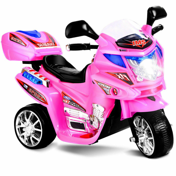 20-Day Presell 3 Wheel Kids Ride On Motorcycle 6V Battery Powered Electric Toy Power Bicyle New-Pink TY327423PI