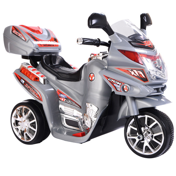 20-Day Presell 3 Wheel Kids Ride On Motorcycle 6V Battery Powered Electric Toy Power Bicyle New-Gray TY327423GR