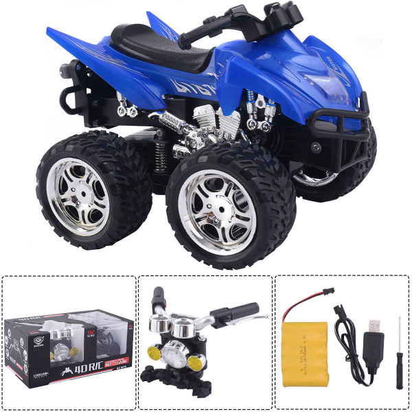 1/12 Scale 2.4G 4D R/C Simulation Atv Remote Control Motorcycle Kids Car Toys-Blue TY560572BL