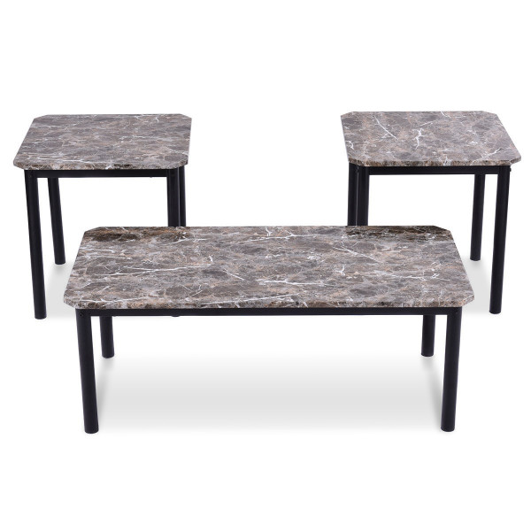 3 Pcs Marble Look Coffee Table And End Tables Set HW52165