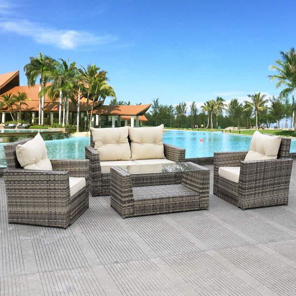 4 Pcs Patio Rattan Cushioned Sofa HW53659+