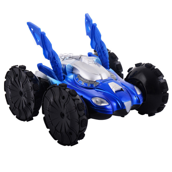 Electric Amphibious Rc Car Remote Control Stunt Car 360 Spin Land Water Toy-Blue TY315741BL