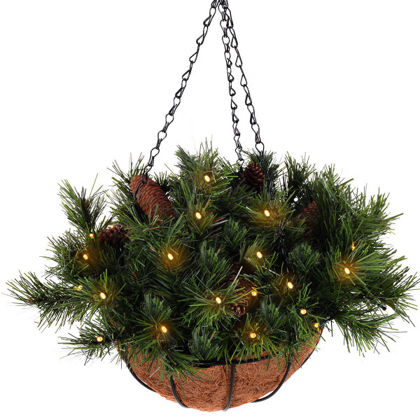 12-Inch Christmas Decor Battery-Operated Hanging Basket CM20206