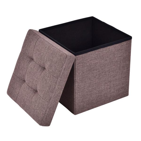 Cube Folding Ottoman Storage Seat - Brown HW53969BN
