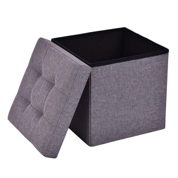Cube Folding Ottoman Storage Seat - Blue+Gray HW53969DKGR