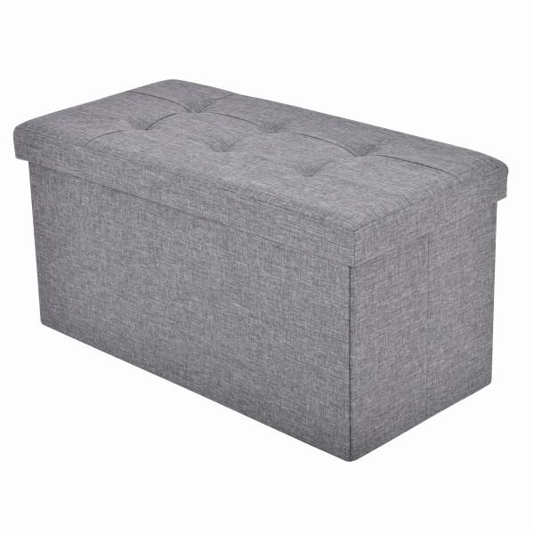 Folding Storage Ottoman Footrest Stool Box - Light Gray HW53970LTGR