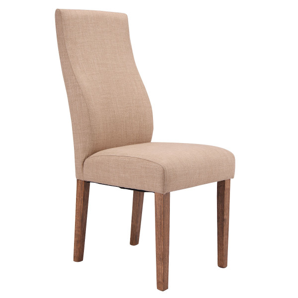 Set Of 2 Fabric Upholstered High Back Armless Dining Chairs-Beige HW54097BE