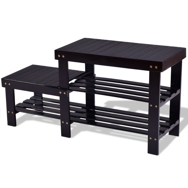 2 -Tier Bamboo Shoe Bench Boot Storage Racks-Black HW55411BK