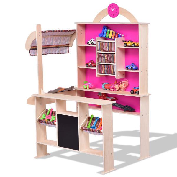 Pink Kids Wooden Toy Shop Market Shopping Pretend Play Set HW56109