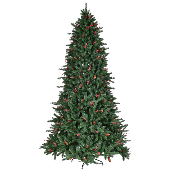 Artificial Pvc Christmas Tree W/ Pine Cones & Red Berries-8' CM20713