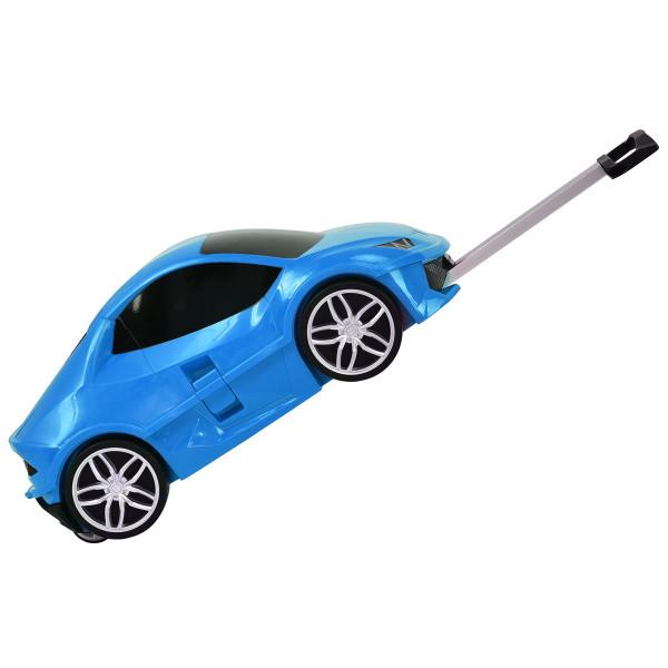 Car Shape 3D Kids Travel Rolling Luggage Trolley-Blue TY572339BL