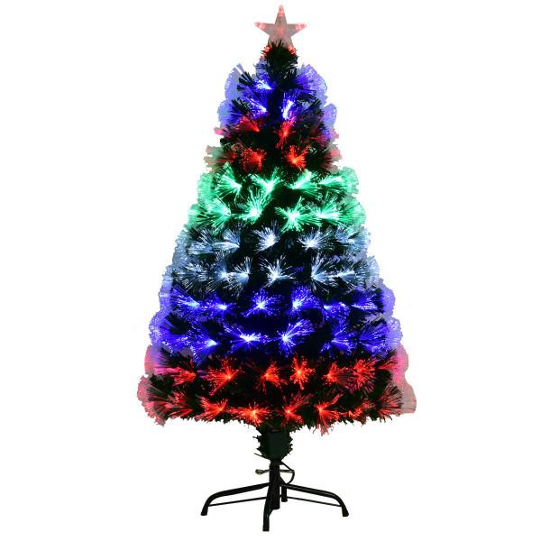 Pre-Lit Fiber Artificial Christmas Tree W/ Multi-Color Led Lights & Stand-5' CM20718
