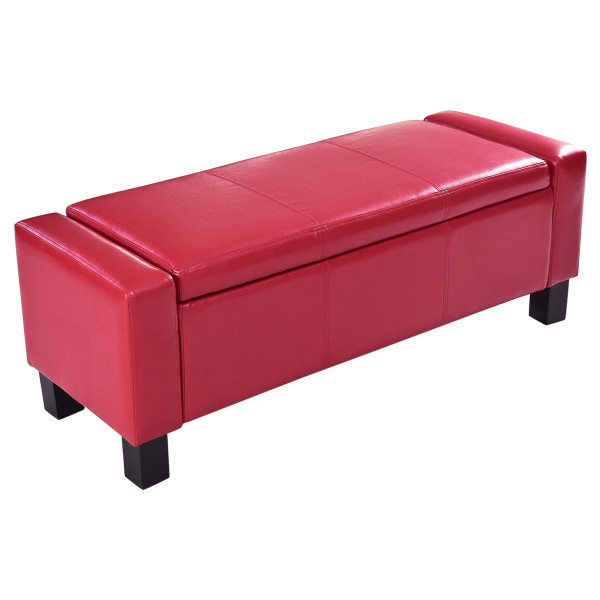 Pu Leather Storage Chest Footstool Ottoman-Red HW56296RE