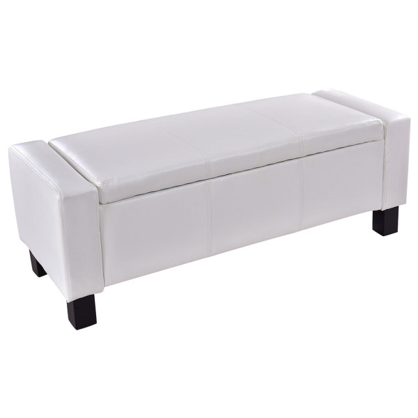Pu Leather Storage Chest Footstool Ottoman-White HW56296WH