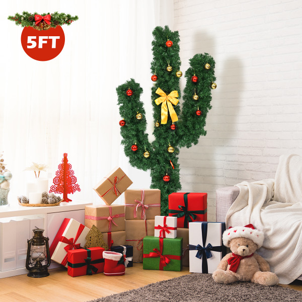 5' / 6' / 7' Artificial Cactus Christmas Tree With Lights-5' CM20644