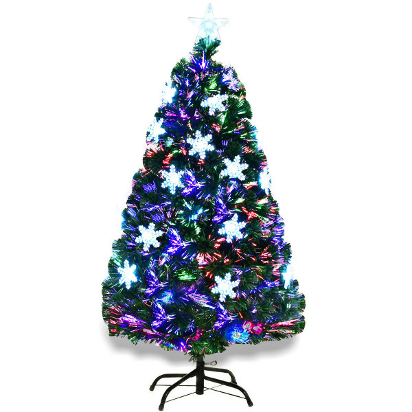 4'/5'/6'/7' Multi-Color Lights Artificial Christmas Tree W/ Snowflakes-4' CM20566