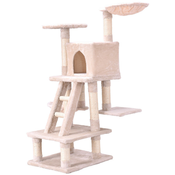 "46"" Condo Scratching Posts Ladder Cat Play Tree-Beige PS7017BG"