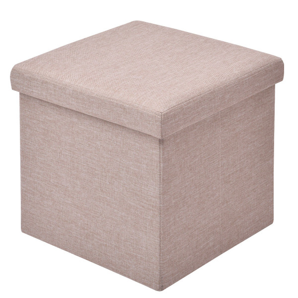 Folding Storage Square Footrest Ottoman-Beige HW54447BE