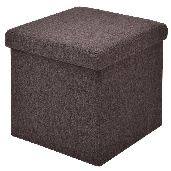 Folding Storage Square Footrest Ottoman-Brown HW54447BN