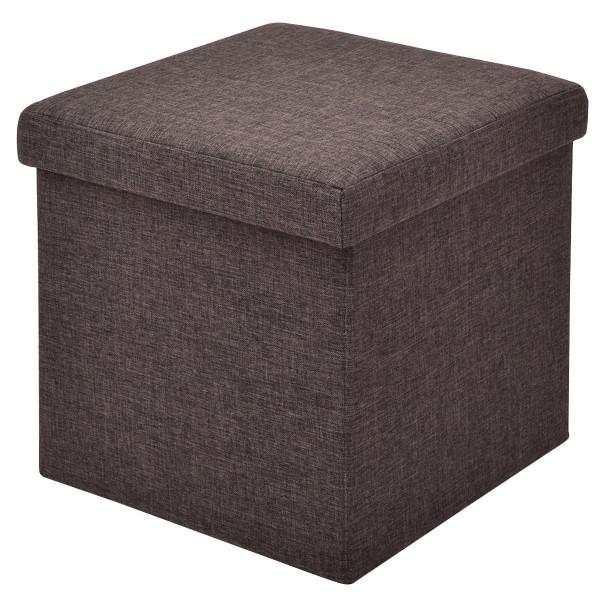 Folding Storage Square Footrest Ottoman-Brown HW54447BN
