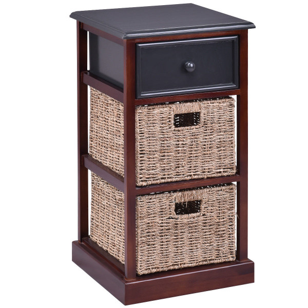 3 Tiers Wood Nightstand With 1 Drawer And 2 Baskets HW56724