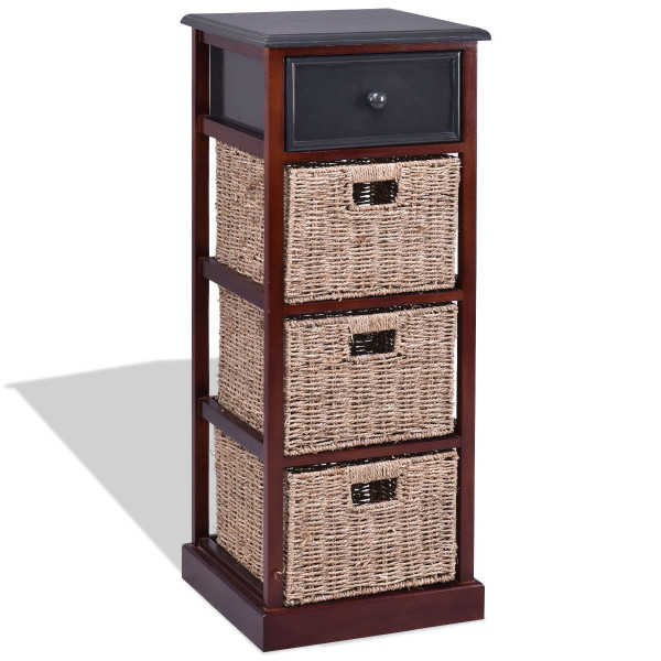 4 Tiers Wood Nightstand With 1 Drawer And 3 Baskets HW56725