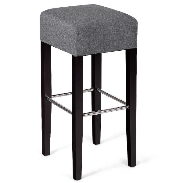1 Pc Backless Bar Stool Fabric Seat Rubber Wood Legs Pub Kitchen Dining Beige-Gray HW58308GR