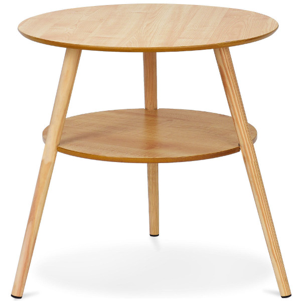 2-Tier Round End Coffee Table With Wooden Legs HW59267