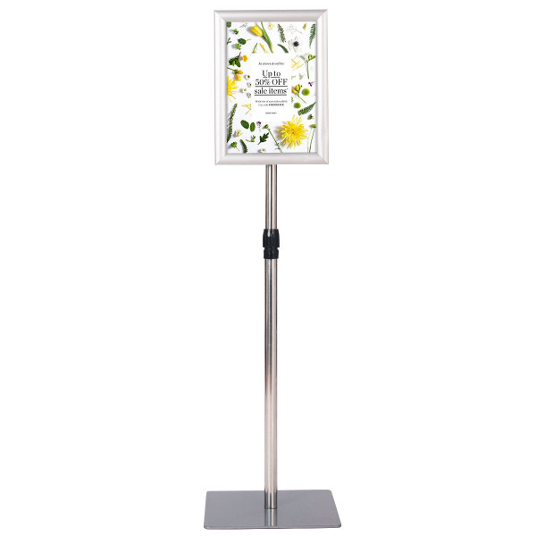 "8.5"" X 11"" Aluminum Adjustable Pedestal Poster Stand Holder-Silver HW59106SL"