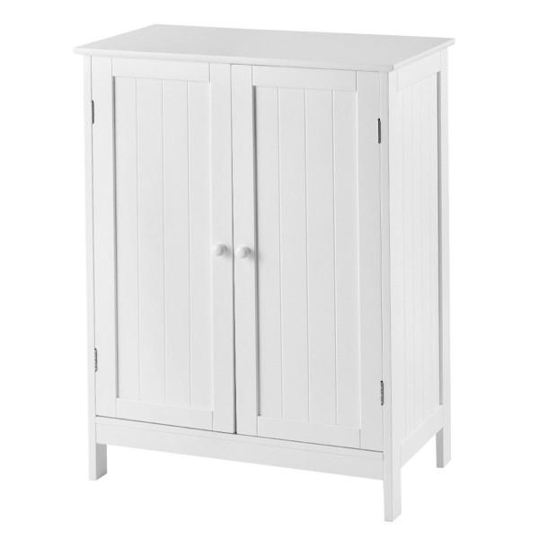 Bathroom Floor Storage Double Door Cupboard Cabinet HW59320WH