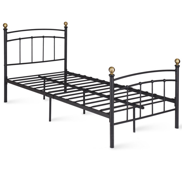 "12"" Twin Size Metal Bed Frame With Metal Slat Support-Black HW59213BK"