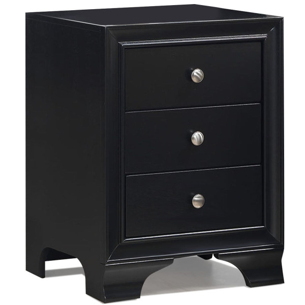 3 Drawers Nightstand End Beside Sofa Side Table-Black HW58982BK