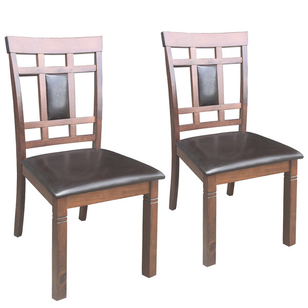 Set Of 2 Pu Leather Upholstered Dining Chairs High Back Armless Furniture-Walnut HW58875WN